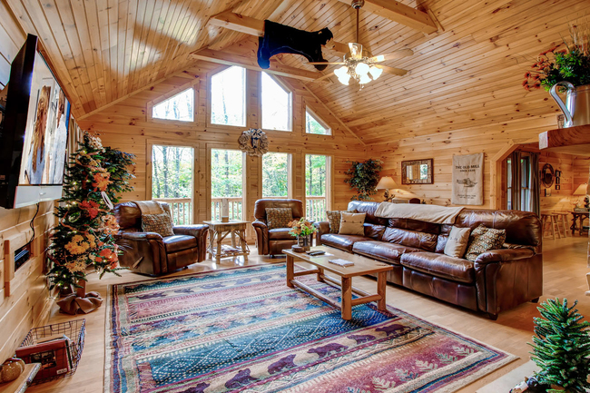 Luxury Cabin 1 Bedroom 1 Bath. Outdoor Hot Tub Indoor Jacuzzi Pool Table  Fireplace 2 Flat Screen HDTVs. Free WiFi. Beautiful Wooded Mtn.Views